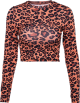Clothes/footwear details Leopard Print Slim Short Cropped T-Shirt (Shirts)