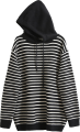 Clothes/footwear details Loose Hooded Pinstrip Knit Sweater (Pullovers)