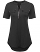Clothes/footwear details LuckyMore Womens Summer V Neck Short Sleeve Zipper Shirts Casual Blouse Tunic Tops (T-shirts)