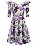 Clothes/footwear details LuckyMore Womens Vintage 1950's 3/4 Sleeve Floral Print Pleated Swing Cocktail Party Dresses (Dresses)