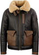 Clothes/footwear details MENS CHOCOLATE BROWN SHEEPSKIN LEATHER BOMBER JACKET (Jacket - coats)