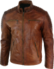 Clothes/footwear details MENS CLASSIC BROWN DISTRESSED LEATHER MOTORCYCLE JACKET (Jacket - coats)