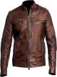 Clothes/footwear details MENS DISTRESSED BROWN CAFE RACER LEATHER JACKET (Jacket - coats)
