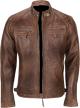 Clothes/footwear details MENS DISTRESSED LAMBSKIN BROWN BIKERS LEATHER JACKET (Jacket - coats)