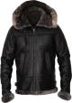 Clothes/footwear details MENS SHERPA HOODIE SHEARLING BLACK LEATHER BOMBER JACKET (Jacket - coats)