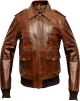 Clothes/footwear details Mens A2 Aviator Distressed Brown Bomber Leather Jacket (Jacket - coats)