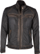 Clothes/footwear details Mens Black Vintage Rugged Leather Motorcycle Jacket (Jacket - coats)