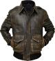 Clothes/footwear details Mens Brown A2 Tiger Bomber Aviator Leather Flight Jacket (Jacket - coats)