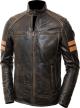 Clothes/footwear details Mens Cafe Racer Distressed Brown Leather Jacket (Jacket - coats)