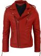 Clothes/footwear details Mens Double Cross Zip Red Leather Biker Jacket (Jacket - coats)