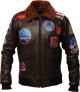 Clothes/footwear details Mens Genuine Cowhide Brown Leather Bomber Jacket (Jacket - coats)