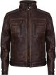 Clothes/footwear details Men's Retro Brown Vintage Motorcycle Leather Jacket (Jacket - coats)