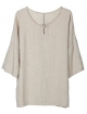 Clothes/footwear details Minibee Women's Elbow Sleeve Linen Tunic Tops Solid Color Retro Blouse (Shirts)