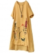 Clothes/footwear details Minibee Women's Summer A-Line Embroidered Linen Dress Hi Low Tunic Fit US 6-16 (Shirts)