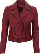 Clothes/footwear details Modern Fit Biker Women's Maroon Leather Jacket (Jacket - coats)