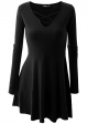 Clothes/footwear details Mooncolour Women's Cross Neck Long Sleeve Solid Tunic Dress (Long sleeves shirts)