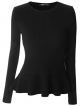 Clothes/footwear details Mooncolour Women's Long Sleeve Knitted Fitted Peplum Tunic Top (Long sleeves shirts)