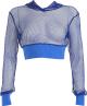Clothes/footwear details Net yarn hollow waist hooded short casua (Shirts)