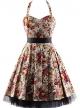 Clothes/footwear details OTEN Women's Vintage Polka Dot Halter Dress 1950s Floral Sping Retro Rockabilly Cocktail Swing Tea Dresses (Dresses)