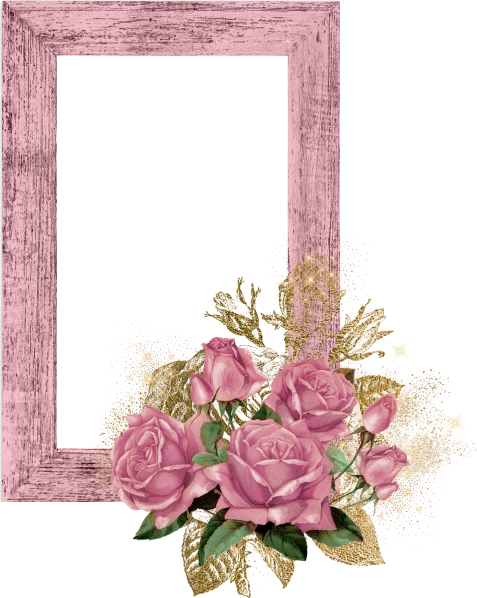 Pink Wood Frame With Roses And Gold Ven Trendmenet