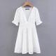 Clothes/footwear details Puff Sleeve V-neck Waist Cutout Full Emb (Dresses)