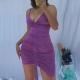 Clothes/footwear details Purple Pleated Stretch Drawstring Deep V Strap Adjustable Skirt Long Skinny Dres (Dresses)