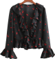 Clothes/footwear details Retro niche ruffled trumpet sleeve chiff (Long sleeves shirts)