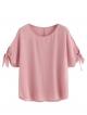 Clothes/footwear details Romwe Women's Cute Summer Tie Knot Split Batwing Short Sleeve Crewneck Tee Top Blouse (T-shirts)