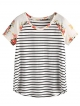 Clothes/footwear details Romwe Women's Floral Print Short Sleeve Tops Striped Casual Blouses T Shirt (T-shirts)