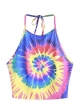 Clothes/footwear details Romwe Women's Sexy Spiral Tie Dye Multicolor Print Backless Tie Halter Top (T-shirts)