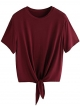 Clothes/footwear details Romwe Women's Short Sleeve Tie Front Knot Casual Loose Fit Tee T-Shirt (T-shirts)