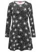 Clothes/footwear details Ruiyige Womens Long Sleeves Spider Net Print Halloween Dress Flared Swing Dress Black Mini Dress (Dresses)