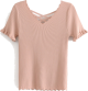 Clothes/footwear details Saw-tooth V-neck Basic Knitwear (Shirts)