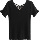Clothes/footwear details Saw-tooth V-neck Basic Knitwear (T-shirts)
