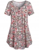 Clothes/footwear details SeSe Code Women's Crewneck Button-up Ruched Short Sleeve Tunic Shirt (Shirts)