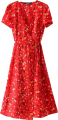 Clothes/footwear details Sexy V-Neck Cherry Long Floral Dress (Dresses)