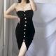Clothes/footwear details Sexy word shoulder strapless black pleated split velvet dress (Dresses)