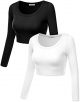 Clothes/footwear details Simlu Womens Crop Top Round Neck Basic Long Sleeve Crop Top with Stretch Reg and Plus Size - USA (Shirts)