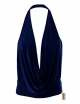 Clothes/footwear details Simlu Womens Lightweight Sexy Drape Backless Cowlneck Low Cut Halter Top with Stretch (Shirts)