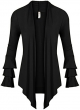 Clothes/footwear details Simlu Womens Open Front Cardigan Sweater Ruffle Long Sleeve Cardigan Reg and Plus Size - Made in USA (Shirts)