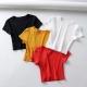 Clothes/footwear details Slim short high waist open navy short sleeve T-shirt (Shirts)