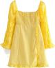 Clothes/footwear details Square Lace Short Skirt Slim Fit Long Sl (Dresses)