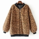 Clothes/footwear details Stand Collar Zipper Leopard Jacket Stand (Jacket - coats)