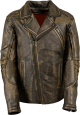 Clothes/footwear details Stylish Mens Brown Biker Retro Distressed Leather Jacket (Jacket - coats)