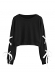 Clothes/footwear details SweatyRocks Women's Casual Lace Up Long Sleeve Pullover Crop Top Sweatshirt (Shirts)