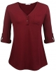 Clothes/footwear details Sweetnight Women's V-Neck Blouse 3/4 Roll-Up Sleeve Button Down Shirt Loose Fit Casual Shirred Tunic Tops (Shirts)