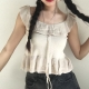 Clothes/footwear details Sweet ruffled waist knitted sweater suspenders (Shirts)