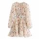 Clothes/footwear details Tie-line printed ruffled skirt long-slee (Dresses)