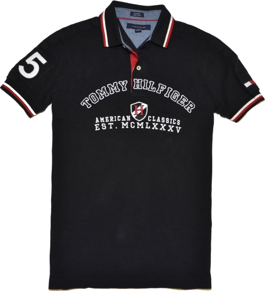 wholesale dealer 31f70 8ffc4 Tommy Hilfiger Magliette - Tommy Hilfiger Men Custom Fit Graphic Logo Polo  T-shirt Black/White/Red