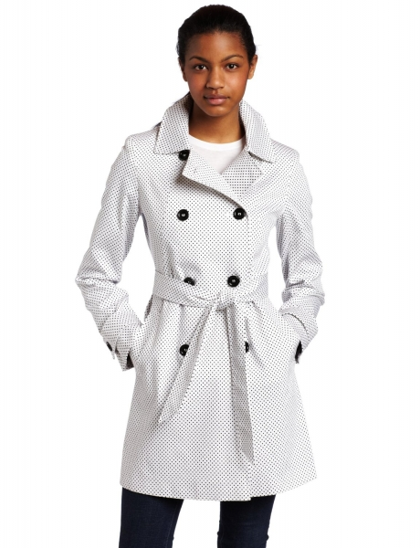 Tommy Hilfiger Jacket coats Tommy Hilfiger Women's Pique Dot Double Breasted Spring Trench Coat WhiteBlack